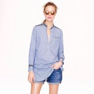 J Crew embroidered tunic top blue white striped M
